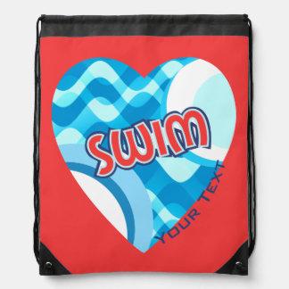 Customize SWIM Water Waves and Heart Drawstring Bag