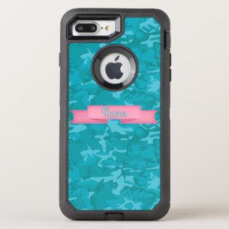 Customize Text  - Blue Camo OtterBox Defender iPhone 7 Plus Case