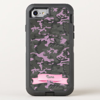 Customize Text  - Camo with Pink OtterBox Defender iPhone 7 Case