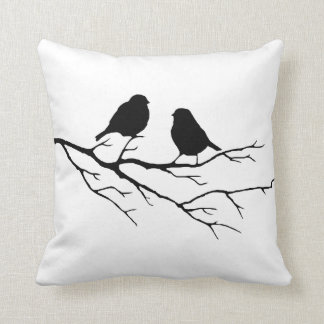 Customize the Color Two Birds in Tree Nature Throw Pillow