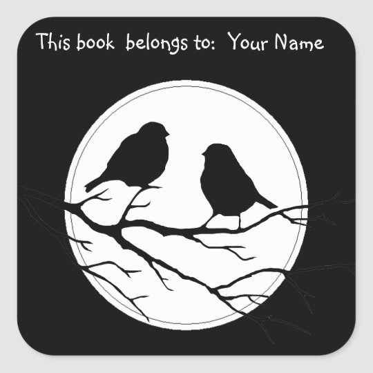 Customize the Colour Two Birds in Tree Nature Square Sticker