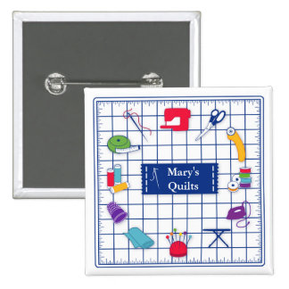 Customize the Label Quilt Time 2 Inch Square Button