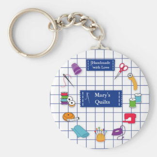Customize the Label Quilt Time Keychain