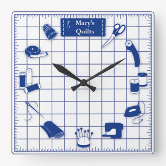 Customize the Label Quilt Time Square Wall Clock