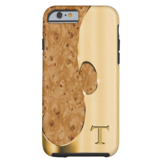 Customize this handsome faux gold and burlwood tough iPhone 6 case