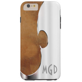 Customize this handsome silver and leather tough iPhone 6 plus case