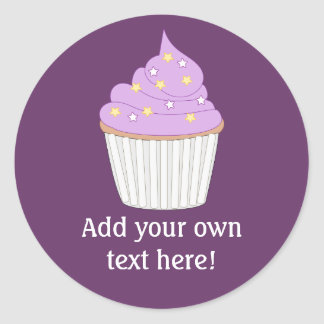 Customize this Lilac Cupcake graphic Round Sticker