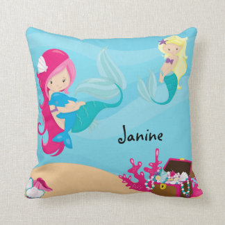 Customize This Pink Haired Mermaid With Porpoise Throw Pillow