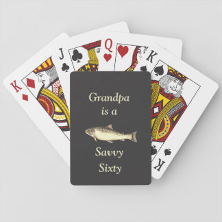 Customize this Trout design savvy sixty Grandpa Playing Cards