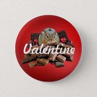 Customize Valentine's Day Chocolate Chipmunk 2 Inch Round Button