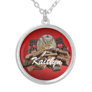 Customize Valentine's Day Chocolate Chipmunk Silver Plated Necklace