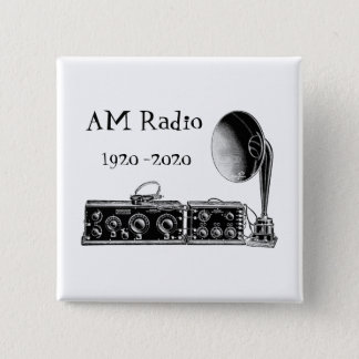 Customize Vintage AM Radio Receiver 2 Inch Square Button