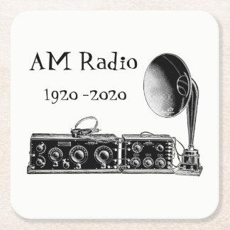 Customize Vintage AM Radio Receiver Square Paper Coaster