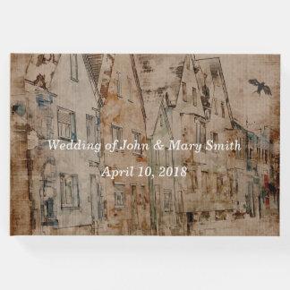 Customize Vintage Sepia Watercolor Village Wedding Guest Book