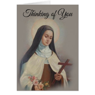 Customize Vintage St. Therese w/Roses Card