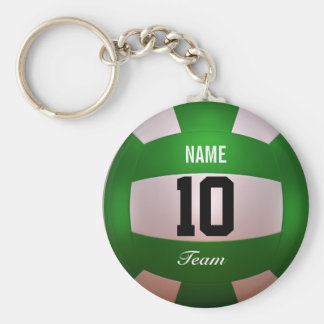 Customize Volleyball Forest Green Basic Round Button Keychain