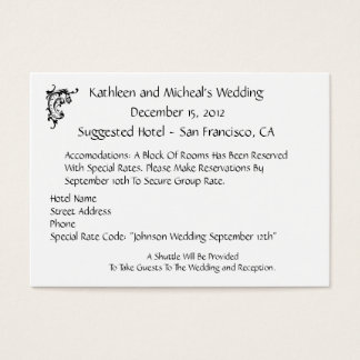 Customize Wedding Hotel Accommodation Insert Card