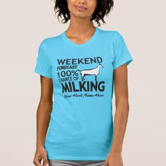 CUSTOMIZE Weekend Forecast Milking Oberhasli Goat Tshirts