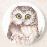 Customize with your Name Funny Owl - Bird, Nature Coaster