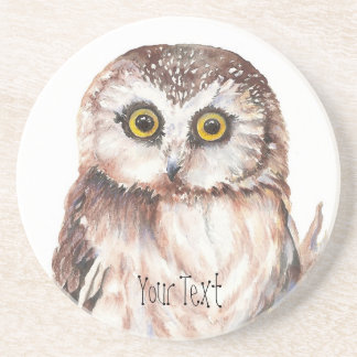 Customize with your Name Funny Owl - Bird, Nature Coaster