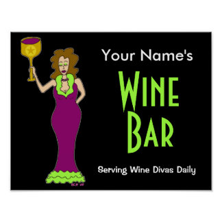 Customize with your name Wine Bar Poster