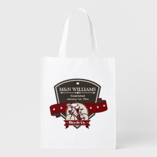 Customize Your Name Bicycle Company Logo Reusable Grocery Bag