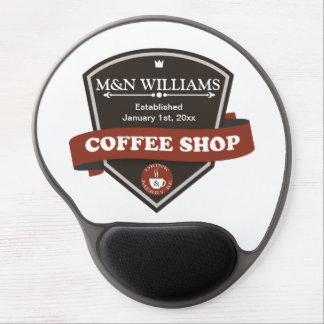 Customize Your Name Coffee Shop Logo Gel Mouse Pad