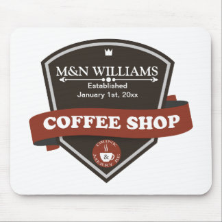 Customize Your Name Coffee Shop Logo Mouse Pad