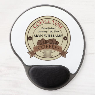 Customize Your Name Coffee Time Logo Gel Mouse Pad