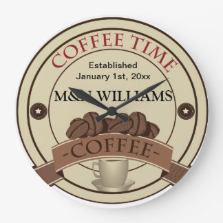 Customize Your Name Coffee Time Logo Large Clock