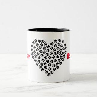 Customize Your Pet's name Mug with Paw Print Heart