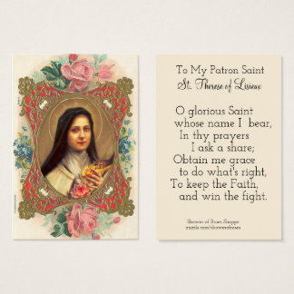 Customizeable Patron Saint Therese Roses Business Card