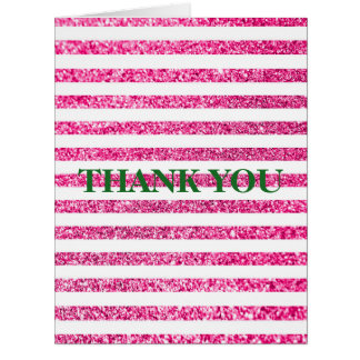 Customizeable Pink Glitter Stripes Thank You Big Greeting Card