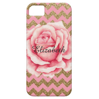 Customizeable Pink & Gold Rose Glitter iPhone 5 Cases