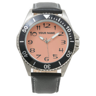 Customizeable Salmon and Your Name Wristwatches