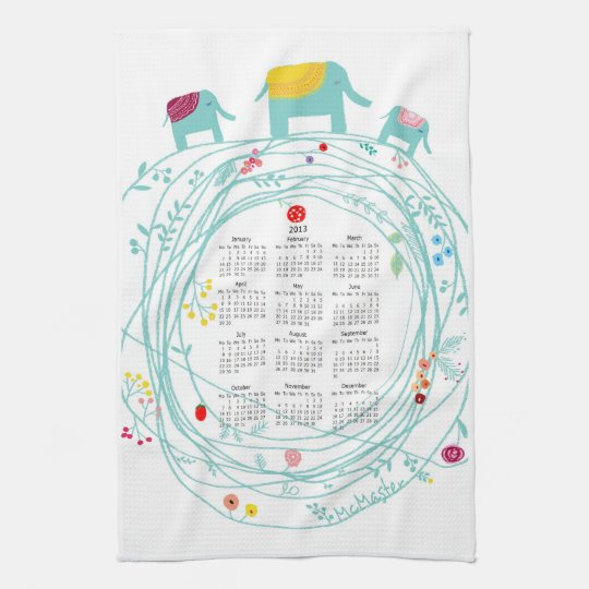 customized 2013 calendar kitchen towels