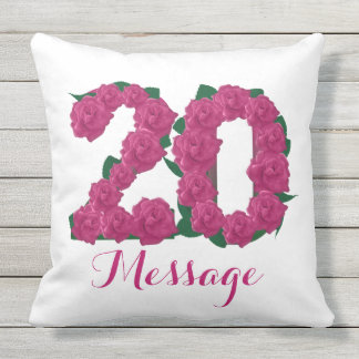 Customized 20th birthday Outdoor Throw Pillow