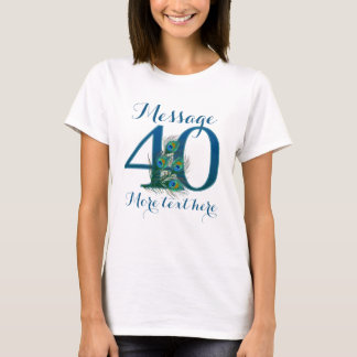 Customized 40th wedding anniversary text T-shirt