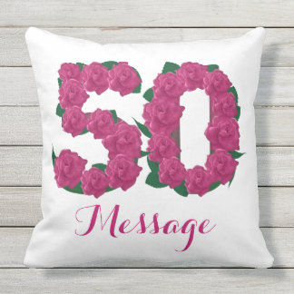 Customized 50th birthday Outdoor Throw Pillow