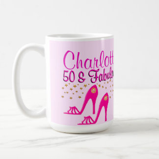 CUSTOMIZED 50TH BIRTHDAY PINK SHOE QUEEN MUG