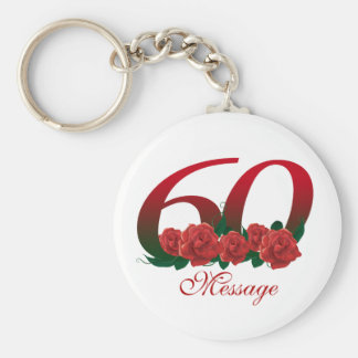 Customized 60th basic round button keychain