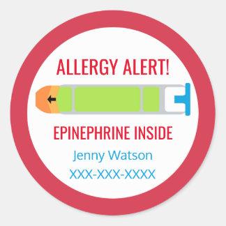 Customized Allergy Alert Epinephrine Inside Kids Classic Round Sticker
