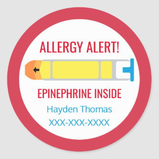 Customized Allergy Alert Epinephrine Inside Kids Round Sticker