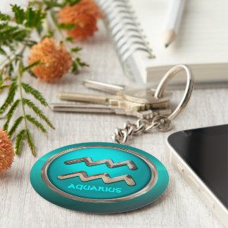 Customized Aquarius Astrological Symbol Basic Round Button Keychain