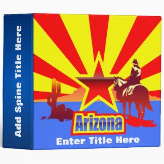 Customized Arizona State Flag Vintage Drawing 3 Ring Binder