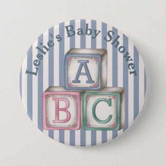 Customized  Baby Blocks Shower Button