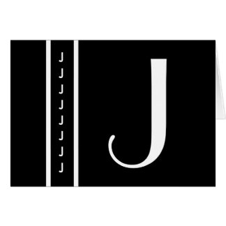 "Customized Black and White Monogram  - Initial ""J"" Card"