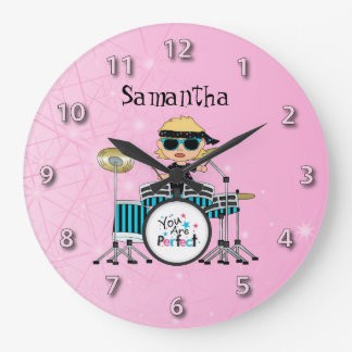 Customized Blonde Drummer Girl with Stars on Pink Large Clock