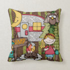 Customized Blonde Haired Girl Camping Pillow