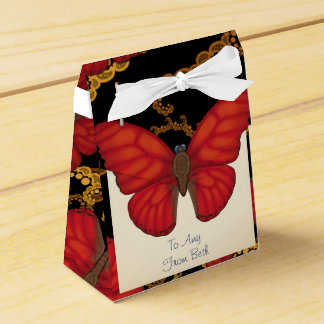 Customized Blood Red Glider Butterfly Favor Box